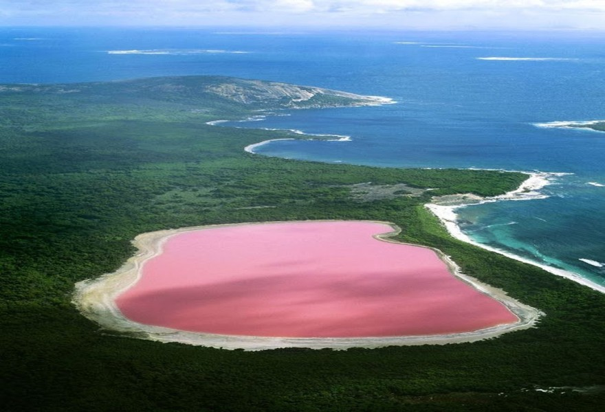 Pink Lake Hillier Australia Air View